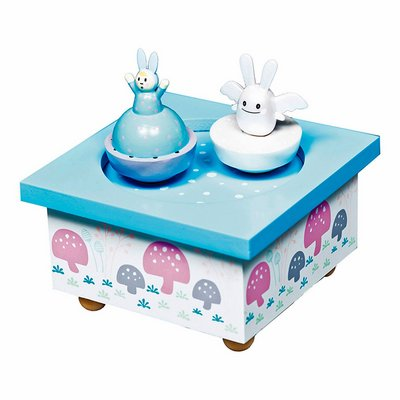 Trousselier musical wooden box ange lapin, blue/pink