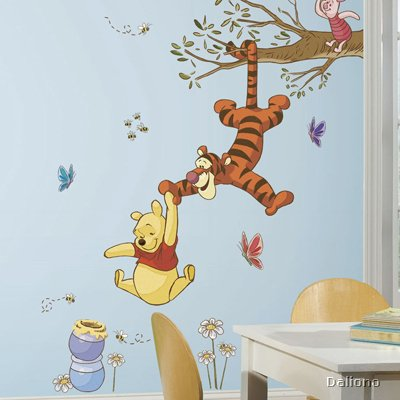 winnie pooh swinging for honey wandbild roommates for. Black Bedroom Furniture Sets. Home Design Ideas